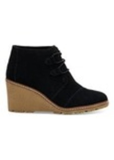 Black Suede with Faux Crepe Women's Desert Wedge Booties