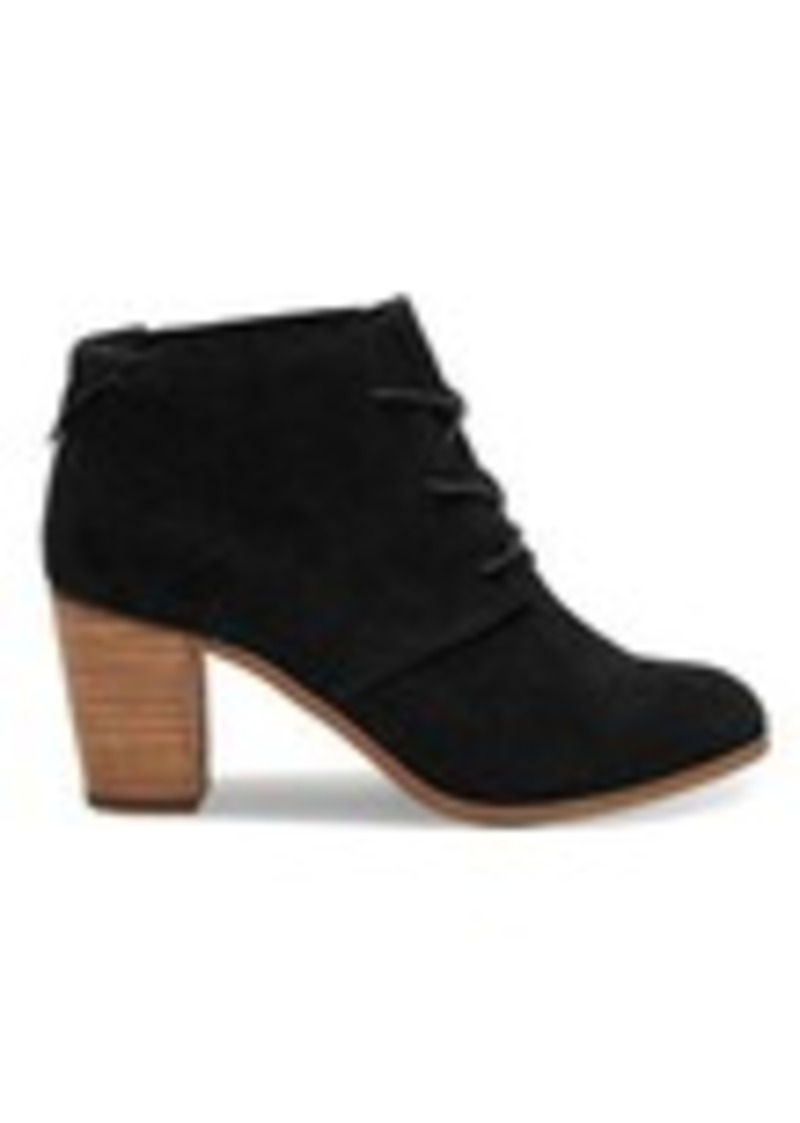 TOMS Shoes Black Suede Women's Lunata Lace-Up Booties