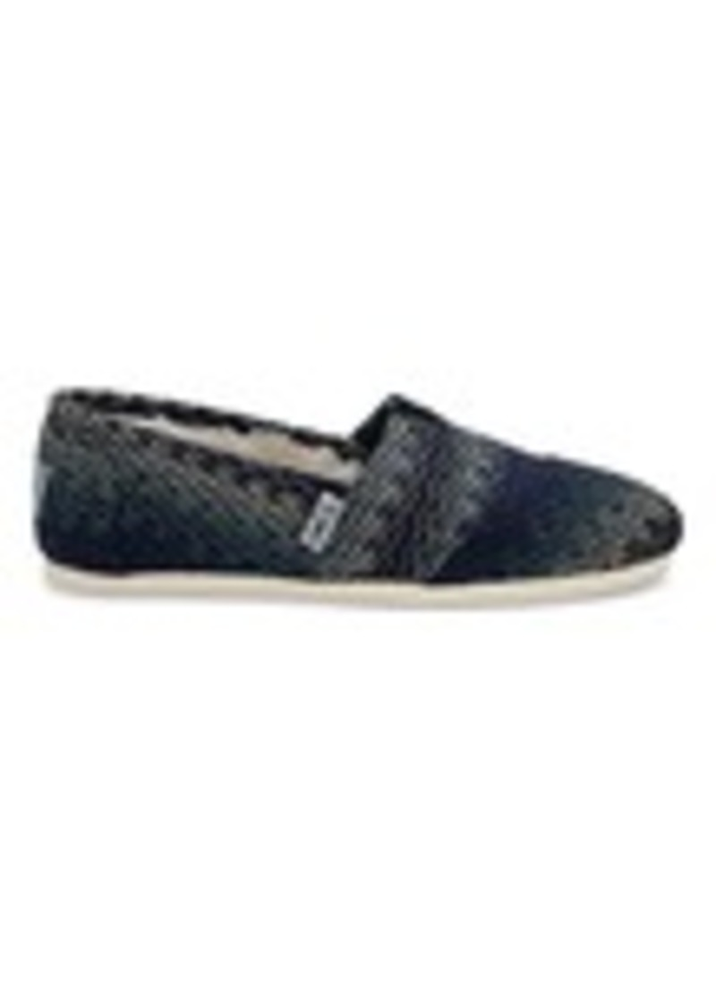 TOMS Shoes Blue Multi Stripe Woven with Shearling Women's Classics