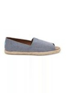 Blue Slub Chambray Women's Open Toe Espadrilles