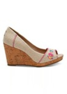 Burlap Floral Embroidered Women's Stella Wedges