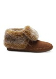 TOMS Shoes Chestnut Suede Faux Hair Women's Zahara Booties