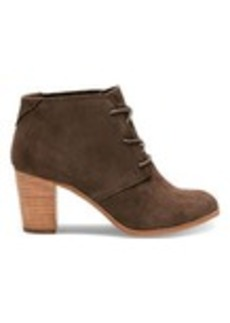 TOMS Shoes Chocolate Brown Suede Women's Lunata Lace-Up Booties