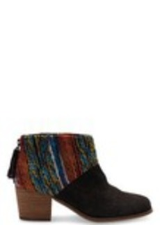 Chocolate Suede Multi Textile Leila Booties