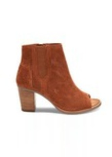 TOMS Shoes Cinnamon Perforated Suede Women's Majorca Peep Toe Booties