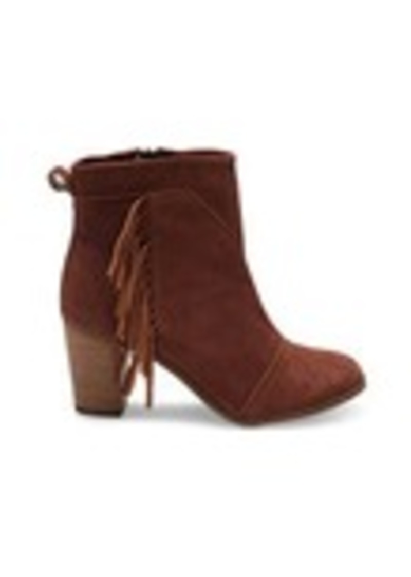 TOMS Shoes Cognac Suede with Fringe Women's Lunata Booties