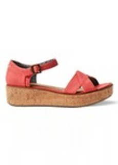 TOMS Shoes Coral Canvas Women's Harper Wedge