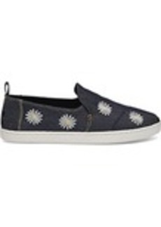 TOMS Shoes Daisy Embroidered Denim Women's Deconstructed Alpa...