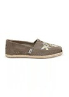 Desert Taupe Embroidered Suede Women's Espadrilles