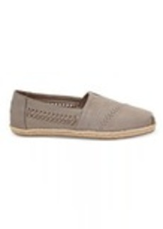 Drizzle Grey Leather with Woven Panel Women's Espadrilles