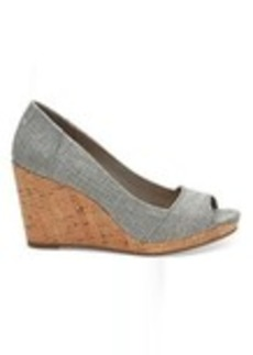 Drizzle Grey Metallic Woven Women's Stella Peep-Toe Wedges