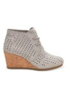TOMS Shoes Drizzle Grey Suede Perforated Leaf Women's Desert Wedges