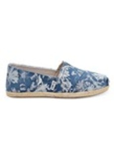 Floral Printed Blue Suede Women's Espadrilles