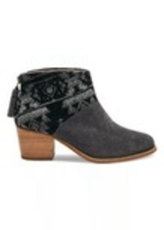 TOMS Shoes Forged Iron Grey Suede and Tribal Wool Women's Leila Booties