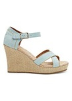 TOMS Shoes Light Blue Suede Gold Trim Women's Strappy Wedges