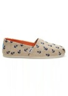 Natural Burlap with Embroidered Anchors Women's Classics