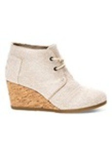 TOMS Shoes Natural Metallic Linen Women's Desert Wedge Booties