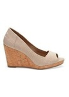 TOMS Shoes Natural Yarn Dye Women's Stella Peep-Toe Wedges