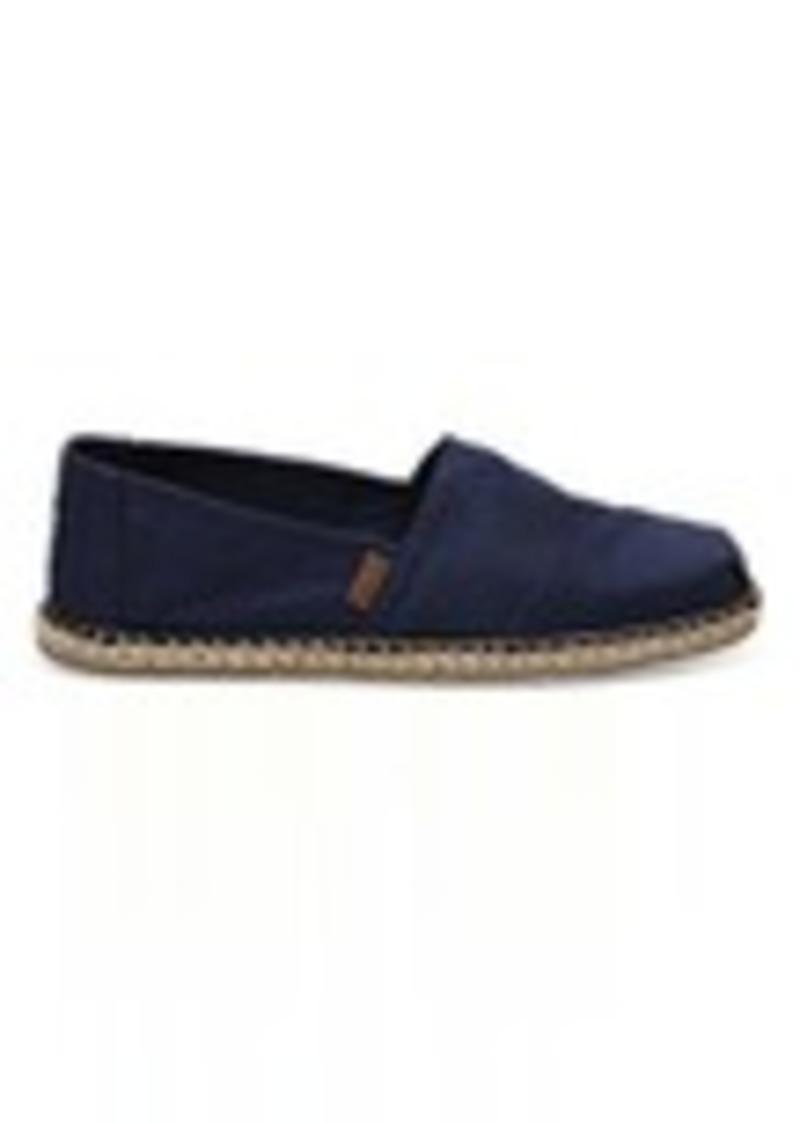 toms shoes navy canvas blanket stitch men s classics shoes