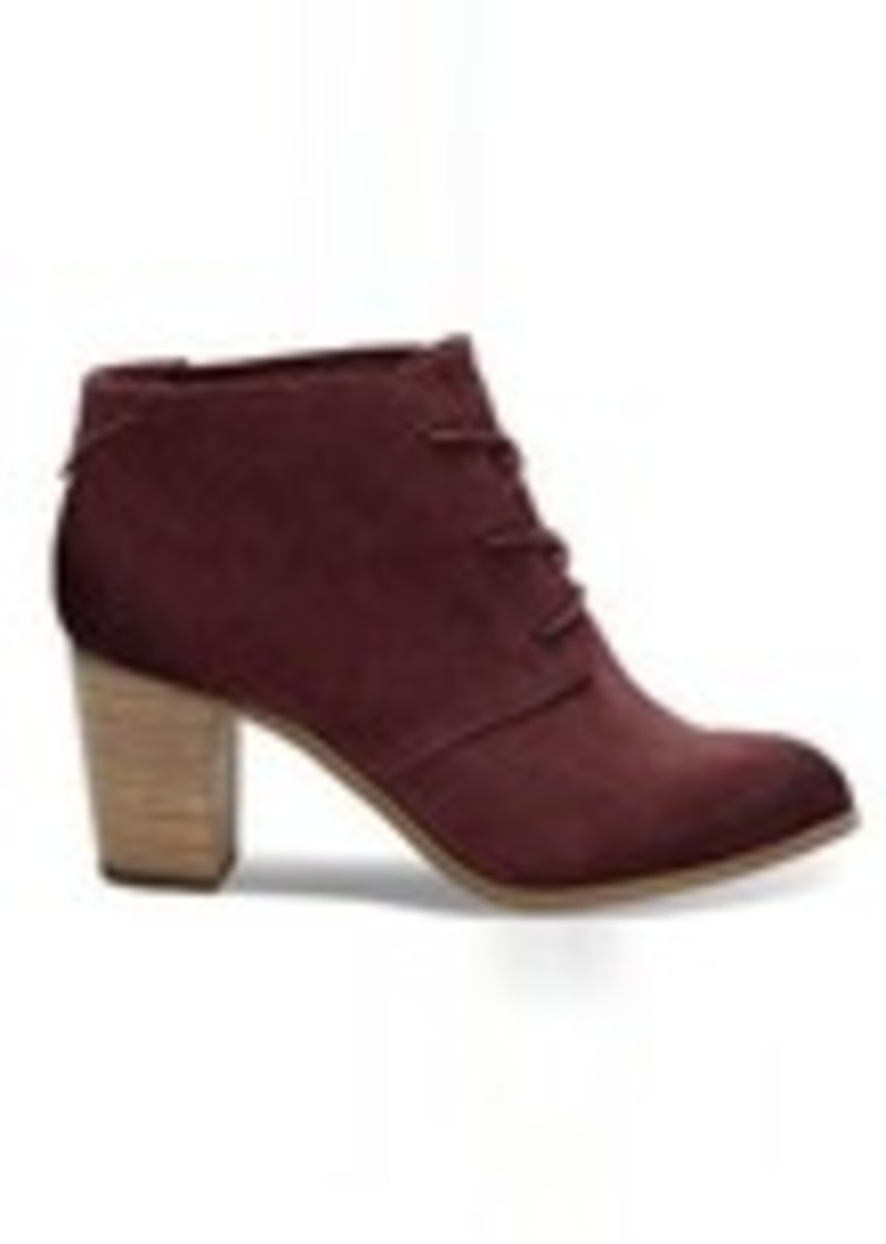 TOMS Shoes Oxblood Burnished Suede Women's Lunata Lace-Up Booties