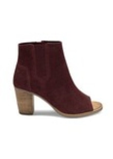 TOMS Shoes Oxblood Perforated Suede Women's Majorca Peep Toe Booties