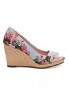 Pink Graphic Floral Print Women's Stella Peep Toe Wedges