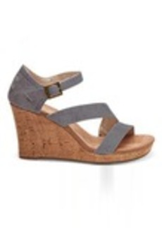 Slate Blue Washed Twill Women's Clarissa Wedges