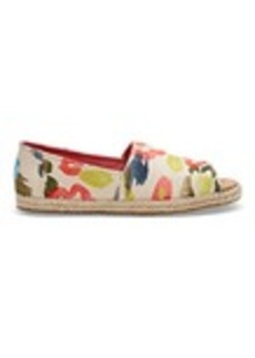 Tangerine Watercolor Floral Print Women's Open Toe Espadrilles