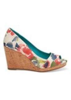 Tangerine Watercolor Floral Women's Stella Peep-Toe Wedges