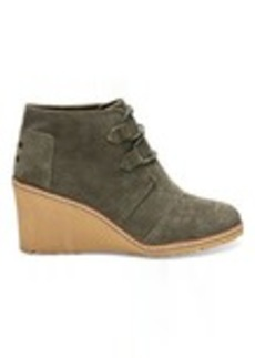TOMS Shoes Tarmac Olive Suede and Faux Crepe Wedge Women's Desert Wedges