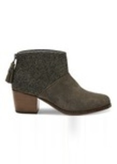TOMS Shoes Tarmac Olive Suede and Herringbone Women's Leila Booties