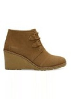 TOMS Shoes Toffee Suede with Faux Crepe Wedge Women's Desert Wed...