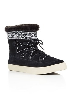 TOMS Shoes TOMS Alpine Suede and Faux Fur Slipper Booties