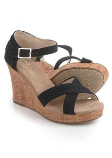 TOMS Shoes TOMS Canvas Strappy Wedge Sandals (For Women)