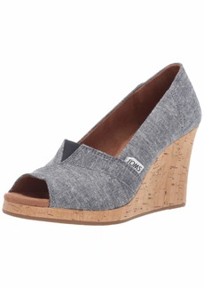 TOMS Shoes TOMS Women's Classic Wedge Sandal navy slub chambray