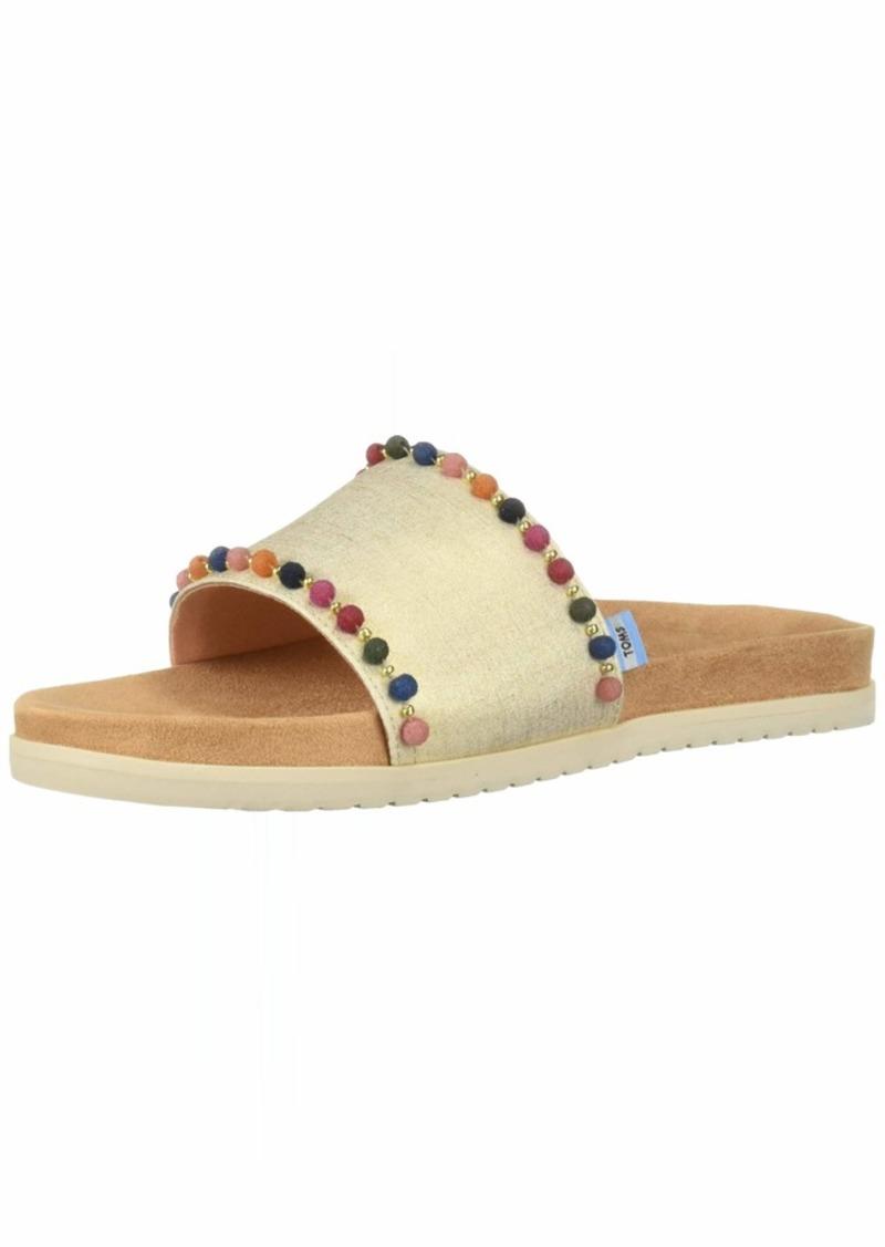 TOMS Shoes TOMS Women's Paradise Slide Sandal Gold Shimmer Canvas poms  B Medium US