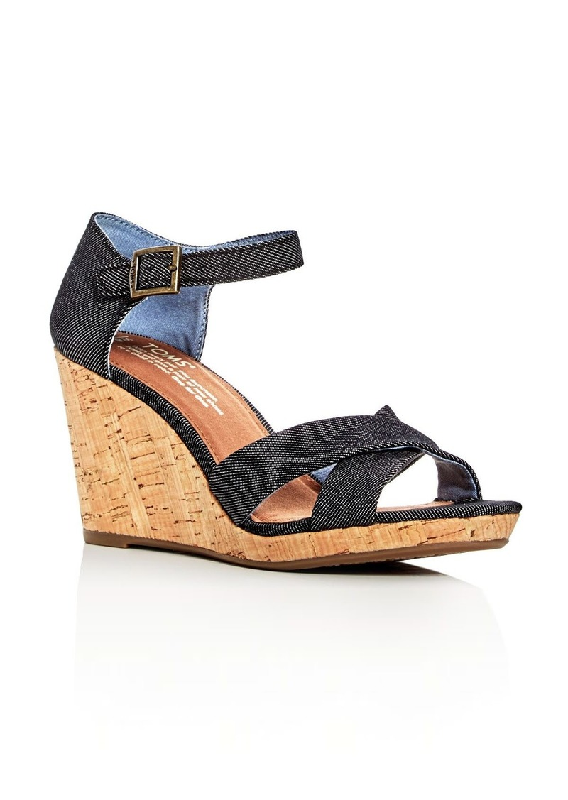 5c7657fa58b80 TOMS Shoes TOMS Women s Sienna Denim Ankle Strap Wedge Sandals