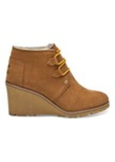 TOMS Shoes Wheat Suede with Faux Crepe Women's Desert Wedges