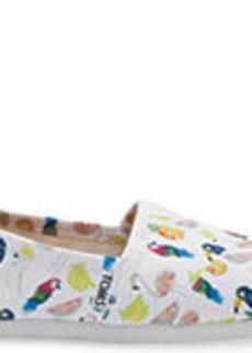 TOMS Shoes White Canvas Printed Parrots Women's Classics