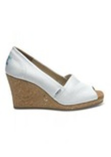 White Grosgrain Women's Wedges