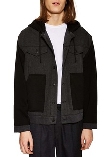 Topman Colorblock Hooded Knit Jacket