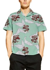 Topman Dragon Print Short Sleeve Button-Up Shirt