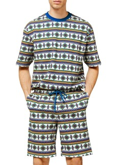 Topman Geo Print Drawstring Shorts
