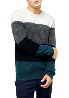 Topman Harlow Classic Fit Colorblock Crewneck Sweater