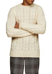 Men's Topman Cable Crewneck Sweater