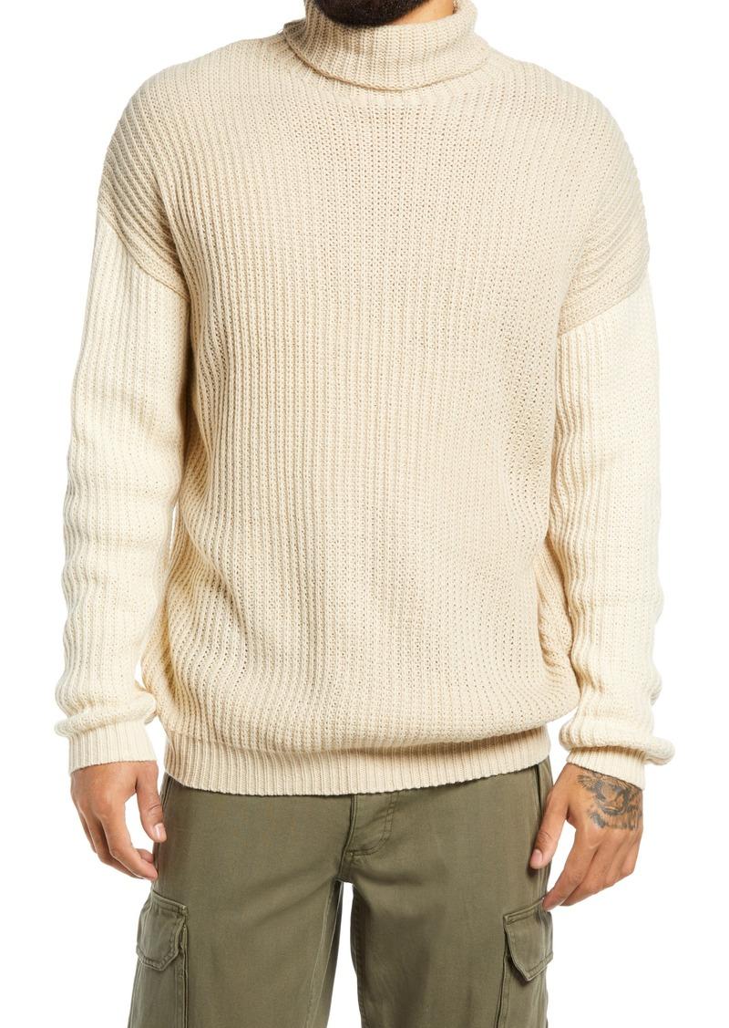 Men's Topman Drop Shoulder Colorblock Turtleneck Sweater