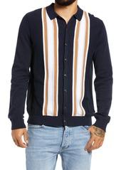 Men's Topman Stripe Button-Up Sweater