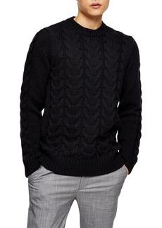 Topman Men's Topshop Cable Knit Sweater
