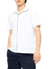 Topman Piped Seersucker Short Sleeve Button-Up Shirt