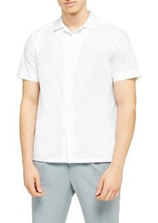 Topman Rib Collar Short Sleeve Button-Up Camp Shirt